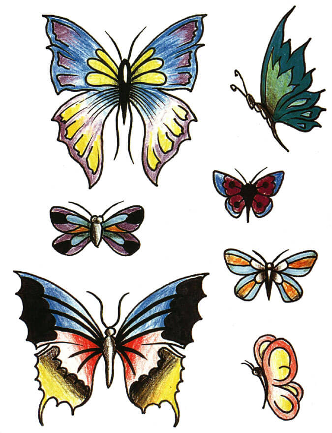 Colorful Butterfly Tattoo Design