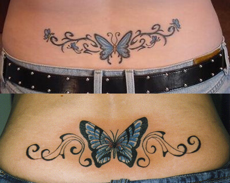 Butterfly Tattoos Design on Hip