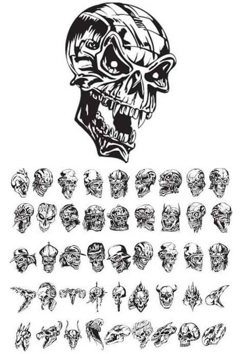 Creative Skulls Mix Tattoo Designs