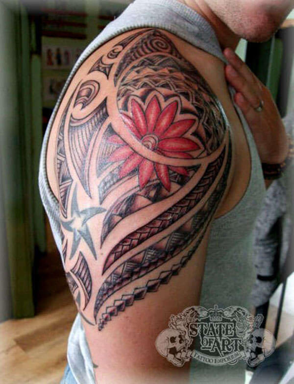 Flower Tattoo Quarter Sleeve