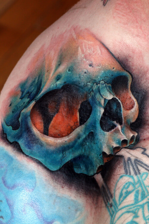 Colorful Skull Tattoo on Shoulder