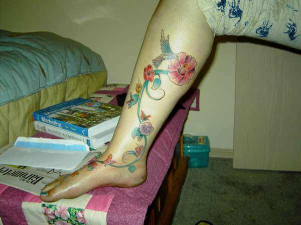 Hibiscus and Hummingbird Tattoo Designs