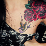 Hummingbird Flower Tattoo Shoulder