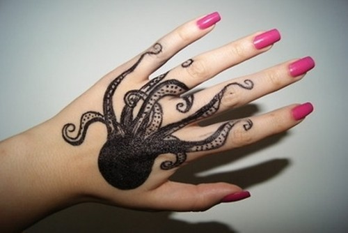 Beautiful Octopus Tattoos on Hand