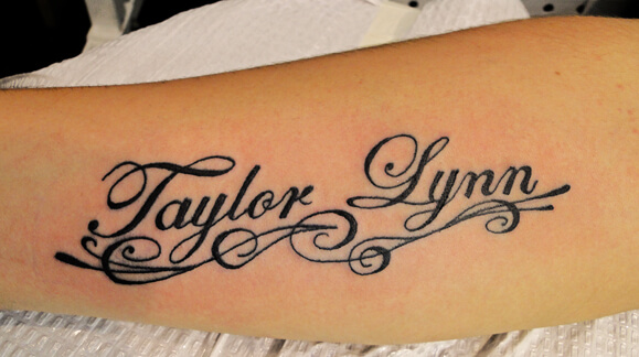 Calligraphy Name Tattoos on Arm