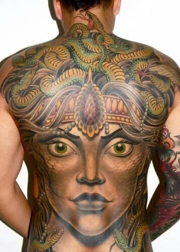 Colored Medusa Back Tattoo Design