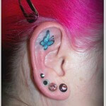 Ear Butterfly Tattoo Design for Girls
