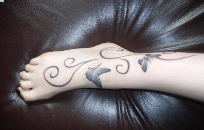 Elegant Butterfly Tattoos for Feet