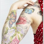 Full Sleeve Butterfly Tattoo Design for Girls