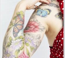 Full Sleeve Butterfly Tattoo Design for Girls