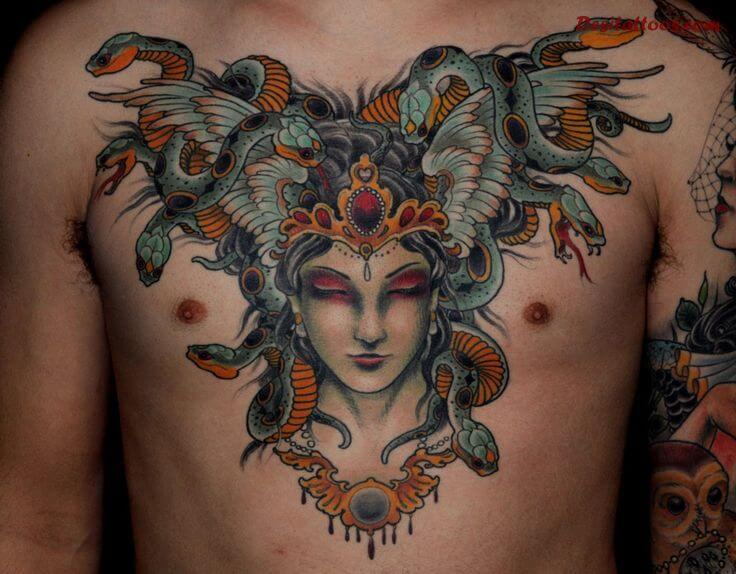 Medusa Inspired Tattoo on Chest