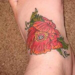 Poppy Flower Tattoos Design on Foot