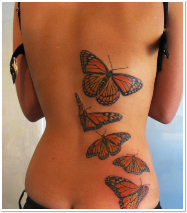 Sexy Butterfly Tattoo for Girls on Back