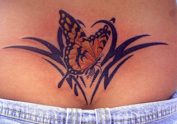 Beautiful Butterfly Tribal Tattoos Design for Women