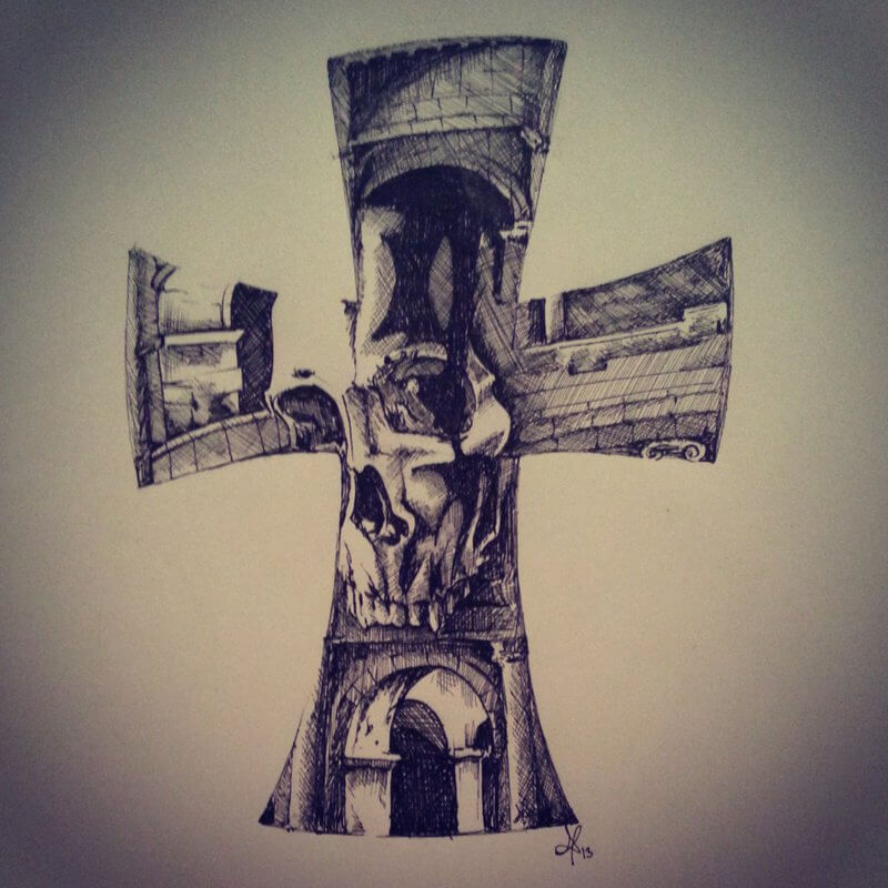D Cross Tattoo Sketch Design