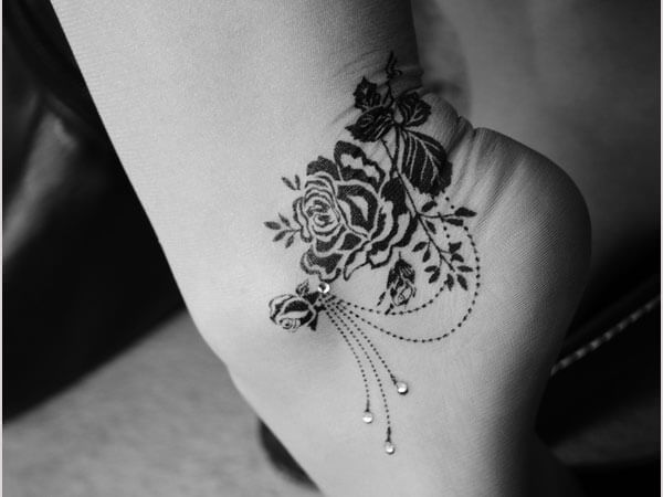 Rose Tattoos Around the Ankle