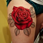 Rose Tattoos on Thigh
