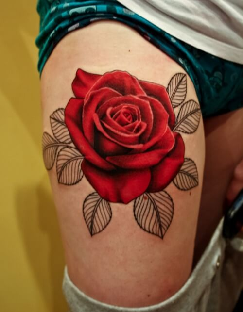 Rose Tattoos Around Thigh