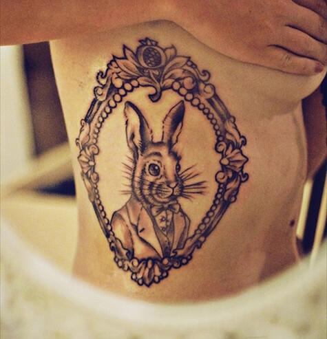 Alice in Wonderland Rabbit Tattoos