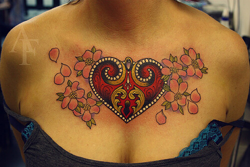 Amazing Heart Locket Tattoo