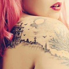 Graveyard Tattoo Design