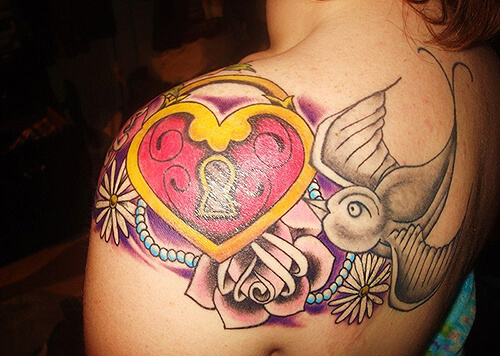 Roses Heart Locket Tattoo