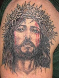 Bleeding Jesus Head Portrait Tattoo Design