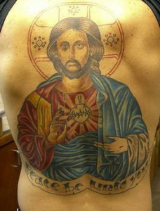 Tattoo of Jesus and Sacred Heart