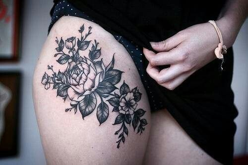 Rose Tattoo on Thigh
