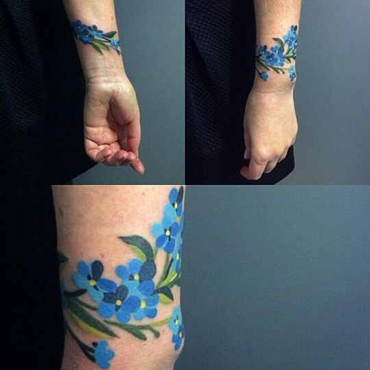 bracelet-tattoo-blue-floral