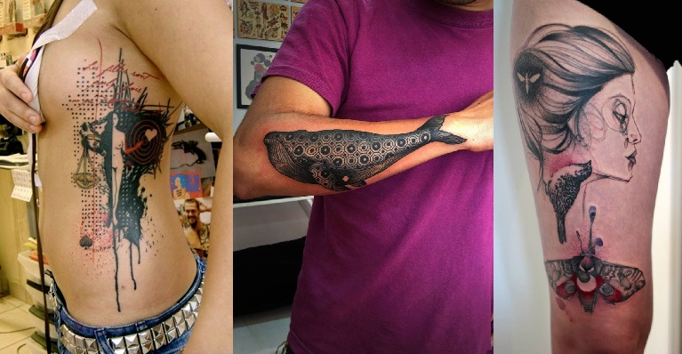 BALANCE SYMBOLIZED BY SCALE TATTOO. SHARP PERCEPTION DEPICTED BY A WHALE. FEMININE TATTOO. ABSTRACT ART. BEAUTY.