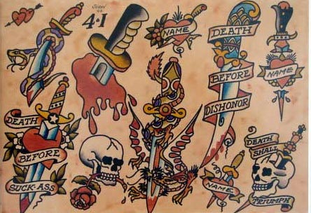 Rockabilly Sailor Jerry style knife tattoo patterns