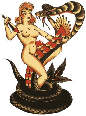 snake rockabilly tattoo - Sailor Jerry