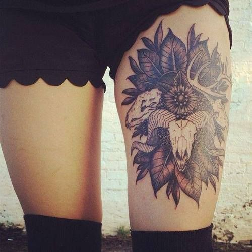 thigh-tattoo-animal-skull