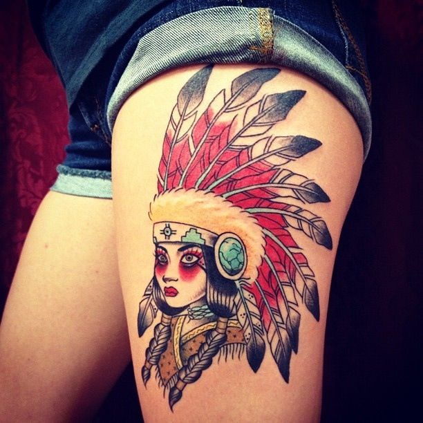 thigh-tattoo-traditional-indian-women